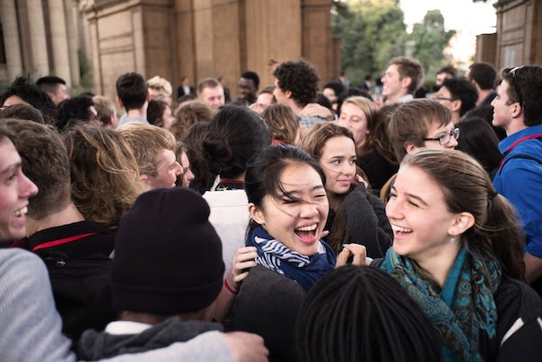 College students in the class of 2019 participate in orientation in San Francisco.